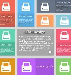 Printing icon sign set of multicolored buttons vector