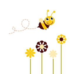 Cute flying bee with flowers isolated on white vector