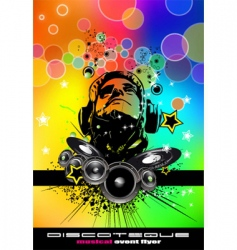 Rainbow disco flyer vector
