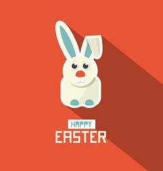 Easter paper flat design bunny on red backgr vector