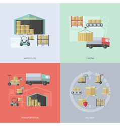 Warehouse flat set vector