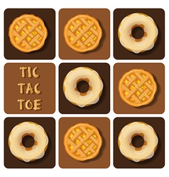 Tic-tac-toe of donut and pineapple pie vector