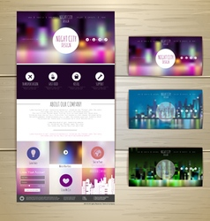 Night city concept web site design vector
