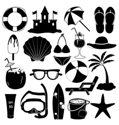 Summer icons collection vector