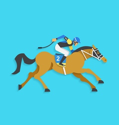 Jockey riding race horse number 2 vector