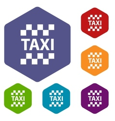 Taxi rhombus icons vector