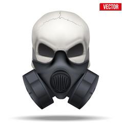 Human skull with respirator mask vector