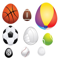 Egg shaped sport balls vector