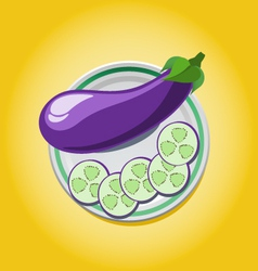 Eggplant on a plate with slices vector