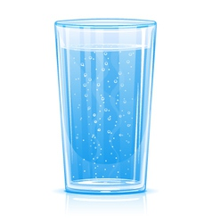 Glass of fizzy water vector