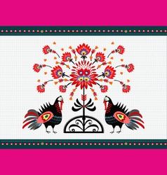 Folk pattern with turkeys vector