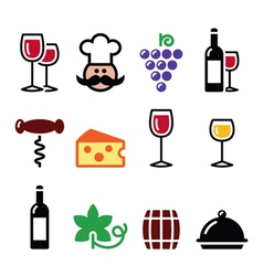 Wine colourful icons set - glass bottle vector