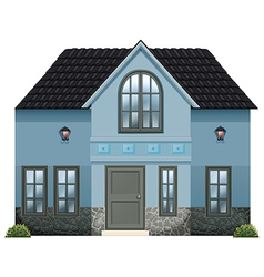 A blue single detached house vector
