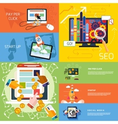 Concept of start up pay per click seo vector