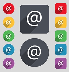 E-mail icon sign a set of 12 colored buttons and a vector