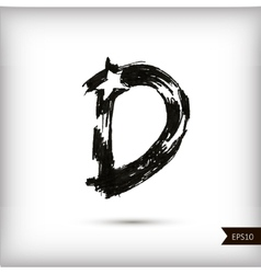 Calligraphic watercolor letter d vector