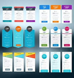 Set of pricing table in flat design style for vector
