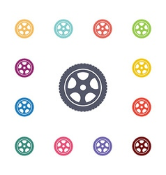 Car wheel flat icons set vector