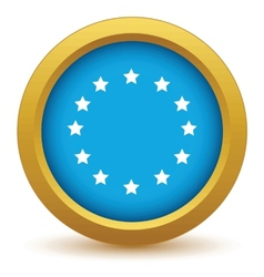 Gold european union icon vector