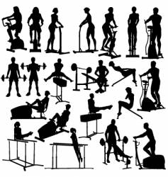 Gym workout silhouettes vector