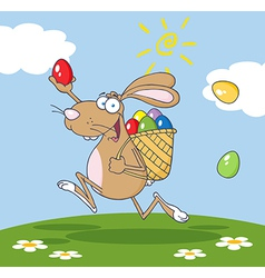 Brown bunny participating in an easter egg hunt vector