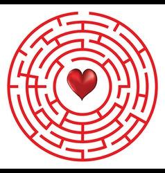 Love heart maze or labyrinth vector
