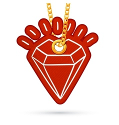 Diamond label tag hanging on golden chain vector