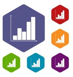 Chart rhombus icons vector