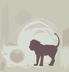 Lion silhouette on grunge background vector