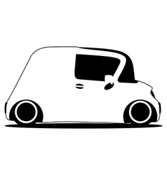 Contour silhouette mini future car vector