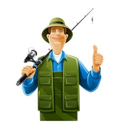Fisherman with rod spinning vector