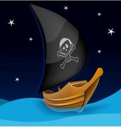 Sail boat with pirate symbol on a night background vector