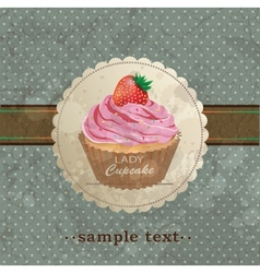 Retro background with cupcake vector