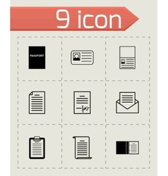 Black document icons set vector