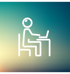 Businessman and laptop thin line icon vector