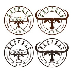 Buffalo farm vintage labels set vector