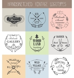 Vintage logotype setdoodle hand drawn sketchy vector