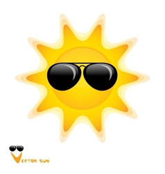 Sun with black glasses art vector