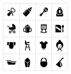 Set icons of newborn baby vector
