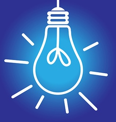 Lightbulb lit white and blue vector