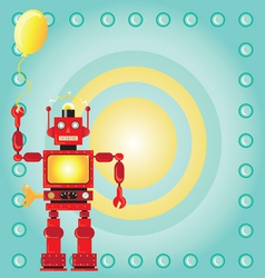 Robot birthday party invitation vector