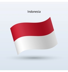 Indonesia flag waving form vector
