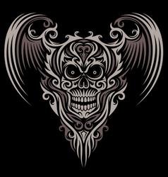 Ornate winged skull vector