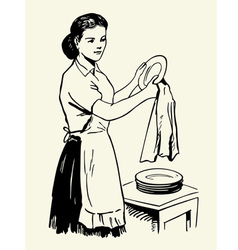 Woman drying dishes vector