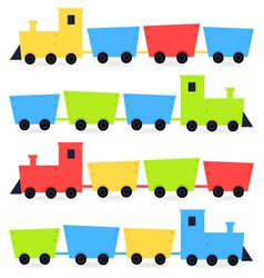 Childish cartoon colorful trains isolated on white vector