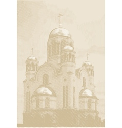 Background with church at engraving style vector