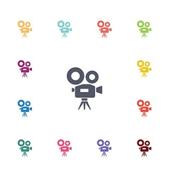 Video camera flat icons set vector