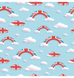 Uk cloud and rainbow pattern vector