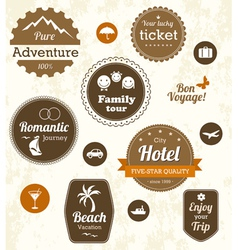 Retro travel labels vector