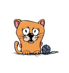 Cute cartoon kitty vector